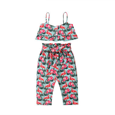 Toddler Kids Baby Girls Outfits Clothes Crop Tops +Floral Long Pants Dress Set