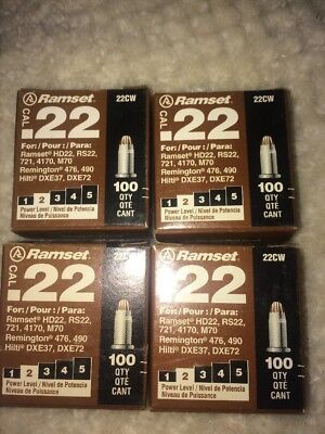 NEW Lot of 4 Boxes Ramset 22cw .22 Cal 400 total #2