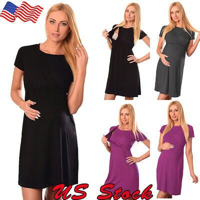 US Women Pregnant Dresses Ladies Maternity Clothes Short Sleeve Casual Dress New