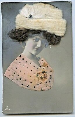 C.1910 Novelty Glamour Rp Postcard Applique Hair Material Feathers Fur  M100.