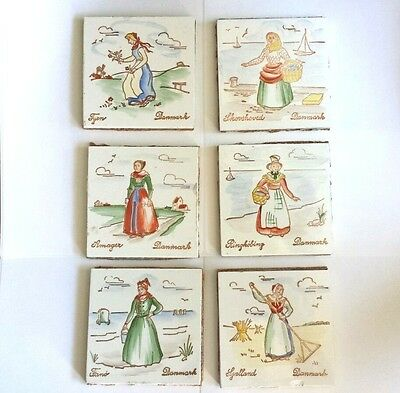6 Vintage Danish Danmark Handpainted Tiles Ladies fr Different Towns &Activities