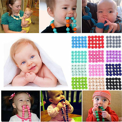 Baby BPA Free Silicone Teething Necklace Nursing Teether Round Beads Chain 20x H