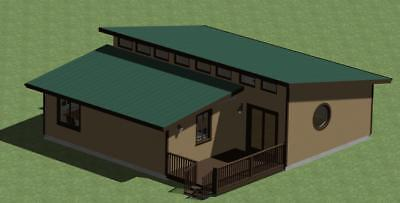 Clerestory Style Cabin Plan Model 900 with Outdoor Deck