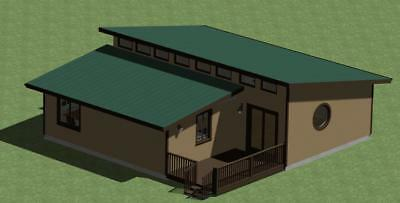 Clerestory Style Small Cabin Plan 900 sq.ft. with Outdoor Deck
