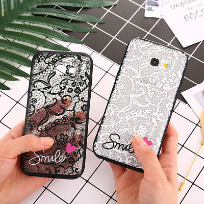 Love heart Lace Flower Hard PC+TPU Case For Samsung galaxy S6 S7Edge S9 S8 Plus