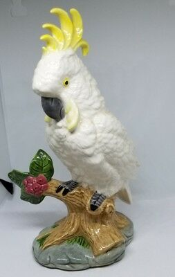 Vintage White Cockatoo Tropical Ceramic Bird Figurine 8""
