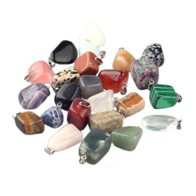 24pcs Assorted Stone Pendants Nugget Dangle Charms Mixed Color Findings 21x11mm