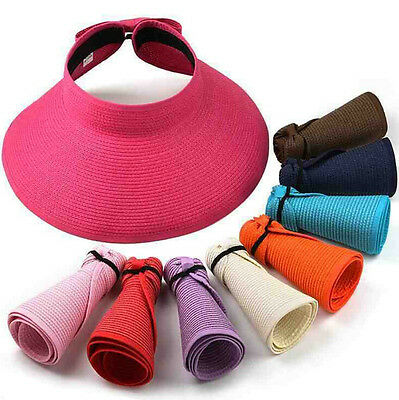 Women Foldable Wide Brim Sun Visor Hat Roll Up Beach Travel Summer Straw Hat Cap