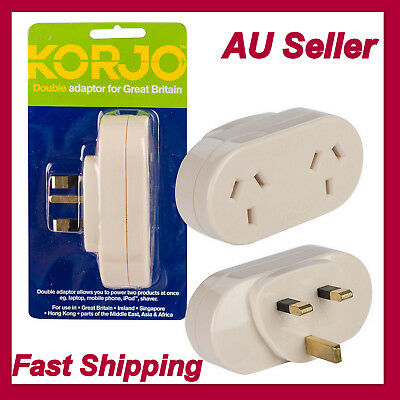 KORJO Double Plug Adapter Adaptor-From Australia to UK Great Britain/Asia/Africa