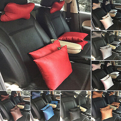 Lushomes Textured Blackout Polyester Car Cushion with Neck Rest Pillow Set of 6