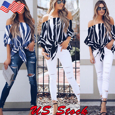 Women Off Shoulder Striped Loose Blouse T-shirt Ladies Bell Sleeve Fashion Tops