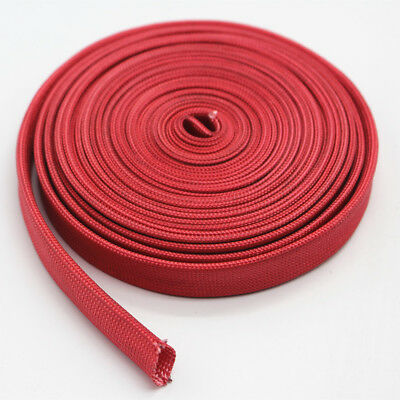 Vulcan Red Heat Protector Woven Sleeve Spark Plug Wire High temp 10mm ID X25ft