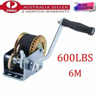600LBS Hand Winch Synthetic Strap 6m Manual Operated Gear Winch Trailer Camper