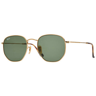 7c259a52714 Ray-Ban Hexagonal Flat Lens RB3548N 001 54mm Gold Frame Green Lens  Sunglasses 20% off with code POCKETS. Ends 24 10. T Cs apply.