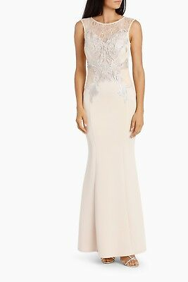 4127d344d1b0 BNWT Lipsy Love Michelle Keegan Lace Applique Fishtail Maxi Dress UK10 RRP  £78