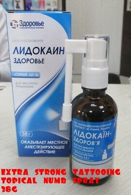 LIDOCAINE 10% SPRAY TOPICAL ANESTHETIC FOR TATOOING, PIERCING, REMOVAL (38g)