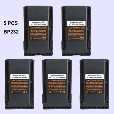 5x BP-232 Li-ion Battery For ICOM IC-F3262 IC-F4262 IC-F3360 Portable Radio