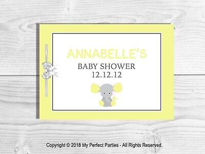 PERSONALISED Baby Shower Guest Book, Keep Sake, Game, Neutral, Yellow Elephant.