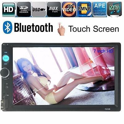 "7"" HD Touch Screen Double 2DIN Car Stereo Player FM Bluetooth Radio Camera TB"
