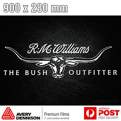 R M  WILLIAMS LONGHORN Large (900 mm) Sticker Decal RM RMW Car Ute Truck  4x4 BnS