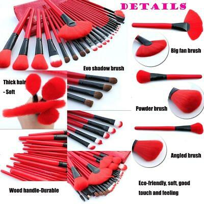 24pcs Professional Makeup Brushes Tool Set with Leather Stone Pattern Pouch Bag