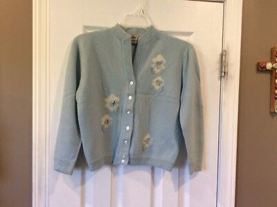 1950s Dalton Montaldo's 100% Virgin Cashmere Sweater Pale Blue