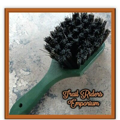 Horse Brush - Dandy brush with handle wood with nylon bristles Showmaster GREEN