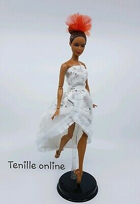 New Barbie clothes outfit princess wedding dress white lace and shoes