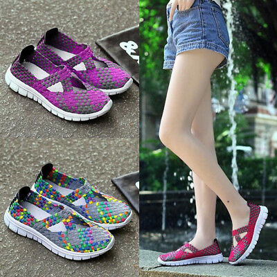 Women Sports Trainers Woven Webbing Sneakers Shoes Ladies Slip On Flats Size 3-7