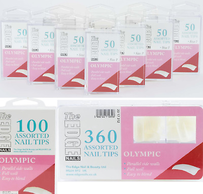 The Edge Nails Olympic Full Well Natural False Nail Tips in Refill 50's 100 360