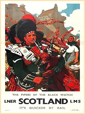 Scotland Pipers Great Britain Railways Vintage Travel Advertisement Poster