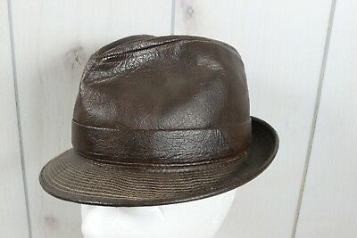"""Vintage Brown Leather Mens Small 20-1/2"""" Trilby Hat Distressed Hipster Gangster"""
