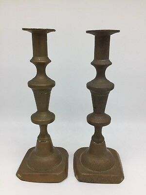 """Vintage Late 19th Century Brass Candlesticks Candle Holders 10"""" Tall"""