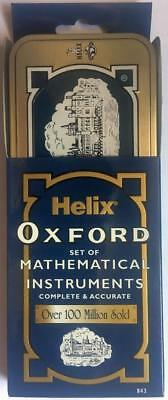 Helix Oxford Maths Set Tin Case Compass Ruler Protactor Rubber Pencil Timetable