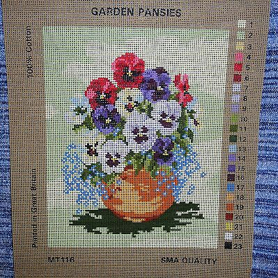 Needlework Tapestry Canvas Garden Pansies Forget Me Not Flowers  Terracotta Pot