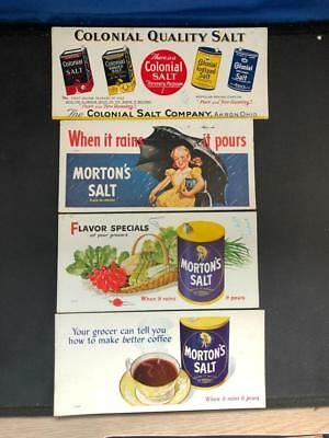 Collection of 4 Vintage 1940's 1950's Ink Blotters 3 Morton Salt 1 Colonial Salt