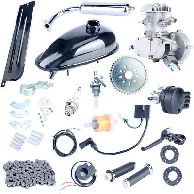 Hot 2Stroke Upgraded Motor Engine Kit Gas for Motorized Bicycle Bike Silver 80cc