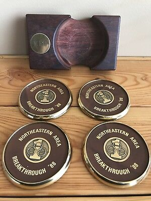 "Specialties BTS Solid Brass & Leather Coasters Olympic Rings ""MED""- Set of 4"