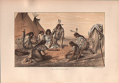"""1881 COLOR LITHOGRAPH """"Ghost Gamble"""" BURIAL CUSTOMS OF NATIVE AMERICAN INDIANS"""