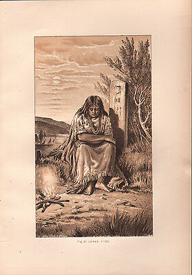 """1881 COLOR LITHOGRAPH """"Grave Fire"""" BURIAL CUSTOMS OF NATIVE AMERICAN INDIANS"""