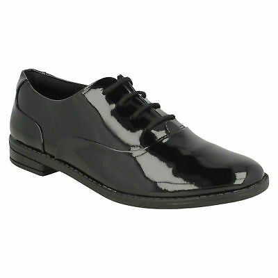 Girls Clarks Drew Star Youth Lace Up Senior Block Heel School Shoes Formal Size