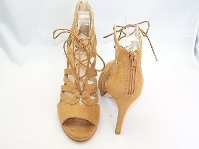 Size 6 light brown open toe, laser cut, lace up, high back shoes from Arizona