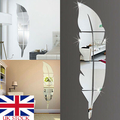 UK 3D Feather Mirror Wall Sticker Decal Removable Art Vinyl Home Room Decor DIY