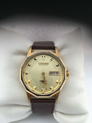 Citizen Men's Analogue Automatic Day/ Date Gold Plated  Leather Strap Watch