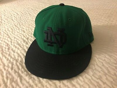NOTRE DAME FIGHTING IRISH NEW ERA FITTED CAP MEN SIZE 7 GREEN BLUE 55.8 cm