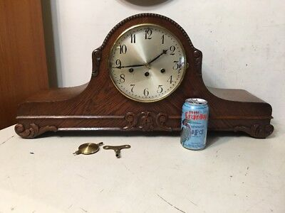 Huge Antique Junghans Westminster Chime Mantle Clock Art Deco Carved Superb Case