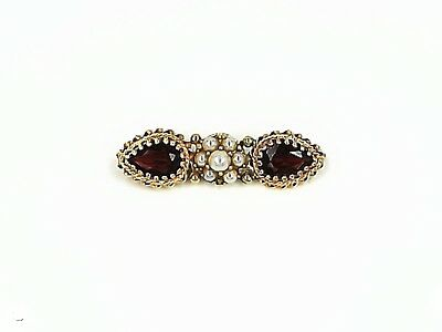 Estate 14K Rose And Yellow Gold Garnet Seed Pearl Brooch - Retail $300.00