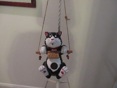 """Adorable Black /white Ceramic Cat Bird Feeder """"lunch Is On Me"""" New"""