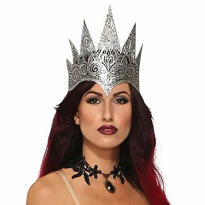 Adult Ladies Lace Filigree Silver Blk Evil Queen Royal Fairytale Crown Accessory