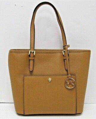 ae893401388a Michael Kors NWT $198 Jet Set Acorn Brown Medium Snap Pocket Shoulder Tote  Bag